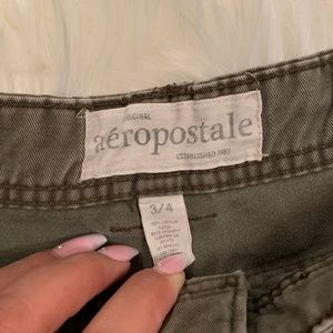 Aeropostale Shorts - Cuffed Army Green Shorts with Button Detail